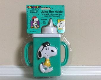 Vtg New! Snoopy Juice Box Holder 3 Stage Lid, Danara.