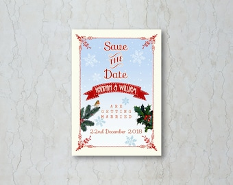 Christmas Save the Date Card or Magnet