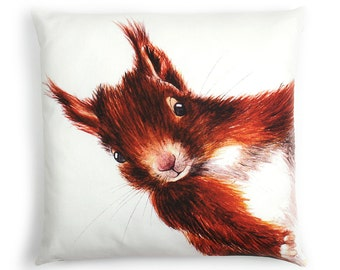 Red Squirrel Cushion - NEW  Cushion Animal Cushion-  Squirrel Pillow- Woodland Animal Cushions Cover- Squirrel Illustration