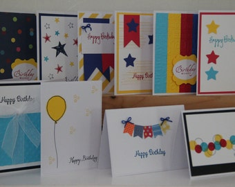 10 Happy Birthday Cards. Handmade Birthday Cards. Assortment Set of 10 Birthday Cards. Birthday Greeting Cards. Primary Color Birthday Cards