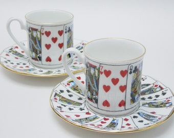 """Queens """"Cut For Coffee"""" Playing Cards Two Demitasse Cups and Saucers Vintage Fine Bone China Made in England"""