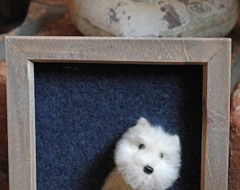 Westie. West Highland White Terrier. Needle Felted Portrait.  3D felt dog. Mistletoe Dreams.