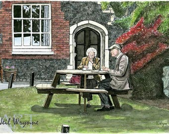 "Garden Picnic Art Print - ""Afternoon Tea"" - Watercolour Cafe Drawing Park Couple Prints Illustrations"