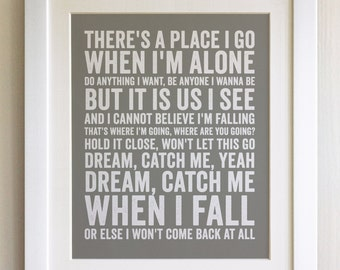 FRAMED Lyrics Print - Newton Faulkner, Dream Catch Me - 20 Colours options, Black/White Frame, Wedding, Anniversary, Valentines, Fab Picture