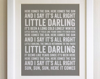 FRAMED Lyrics Print - The Beatles, Here comes the Sun - 20 Colours options, Black/White Frame, Wedding, Anniversary, Valentines, Picture