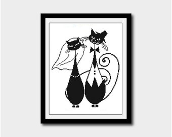 Cats In Love Silhouette, Animal Silhouette Pattern, Wedding Cross Stitch Pattern, Silhouettes, PDF - PATTERN ONLY