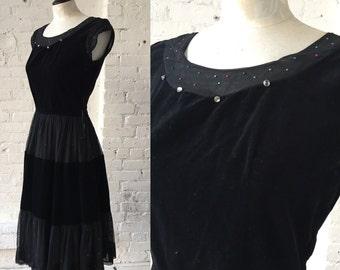 Vintage Velvet and Chiffon Dress with Rhinestones