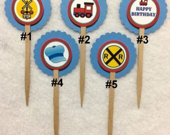 Set Of 12 Personalized Train Choo Choo Birthday Party  Cupcake Toppers (Your Choice Of Any 12)