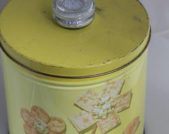 Vintage Blue Magic Krispy Kan Snack Storage Tin Blue Magic Collectible