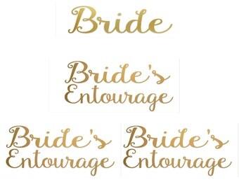SET of 4 ,1- Bride ,3- Bride's entourage  iron on , DIY  Bachelorette party iron on transfers for T shirt, Tank top