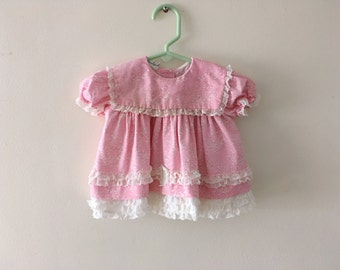 Vintage Lacy Pink Baby Dress/Top Size 6-9 months