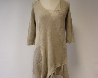 Knitted natural linen dress, M size.