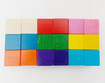 Rainbow Blocks,wooden Blocks, Baby Blocks,Wooden Toys,Montessori and Waldorf, New Mommy Advice Alternative, Nursery Decor,Christmas gift