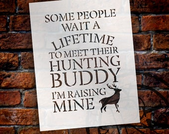 Hunting Buddy - Word Art Stencil - Select Size - STCL1833 - by StudioR12