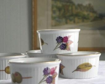 Set of 4 Royal Worcester Evesham Gold Ramekins