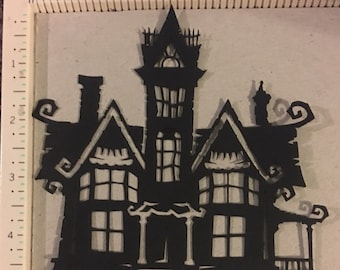 Cricut halloween die cut 4 haunted house die cuts 5 inches tall and 5 inches wide.