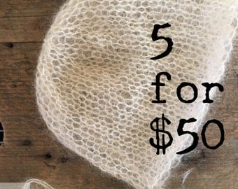 PICK 5, KNIT **Your choice of colors!** Newborn Photo Prop, Newborn Knit Bonnet, Newborn Classic Knit Bonnet, Newborn Mohair Bonnet, Knitted