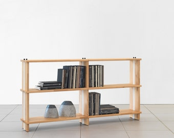 "Bookshelves NIKKA WOODY  Modular wooden bookcase Totally SOLID Wood Shelves.  Wood Sidepanels cm. 180 x 95 h x 30 - (70,9"" x 37,4"" x 12"")"