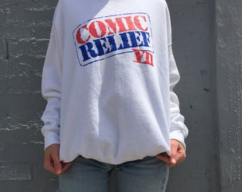 vintage 90s white rare collectible tour pullover sweatshirt comic relief comedy streetwear size xlarge mens