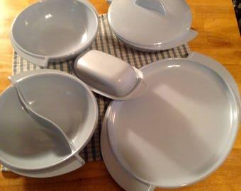 Boonton blue Melmac plastic dinnerware serving pieces