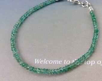 Delicate Colombian Emerald Bracelet, Beaded Gemstone Row Bracelet, Sterling Silve, Gold Filled, May birthstone, Genuine Emerald