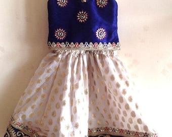 Girls navy blue silk and white brocade lehenga with stone