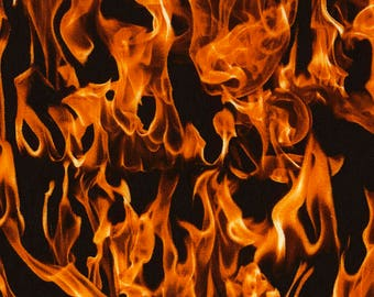 Flames/Fire-Black BG/-BTY-By Timeless Treasures