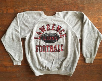 Vintage 1980s LAWRENCE LIONS Football Tri Blend Heather Grey Crew Neck SWEATSHIRT Size Large Hipster Nu Rave Hip Hop