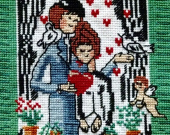 Les Amoureux French vintage cross stitch embroidery picture