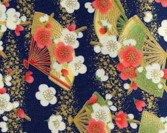 1/2 yard (91cm) cotton linen Sakura Cherry Blossoms and Birds Japanese kimono fabric for quilting and craft #F0007