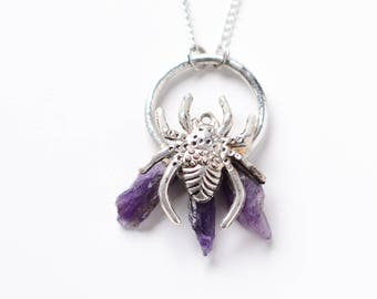 spider necklace with amethyst nuggets   / nickelfree  /