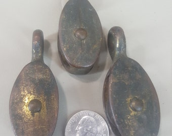 lot of 3 small vintage pulleys