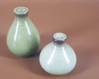 Mid century modern green Metlox salt and pepper shakers
