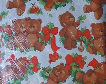 Vintage Christmas Cute Teddy Bear Gift Wrap Christmas Teddy bear Paper Scrapbook craft supplies