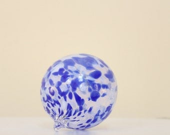 Blown glass ornament blue white - handmade orb - suncatcher -