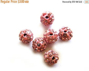 HALF PRICE 10 Pink Rhinestone Disco Ball Beads 8mm