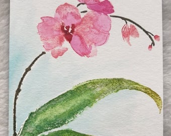 Handmade Blank Card with Watercolored/Stamped Pink Orchid