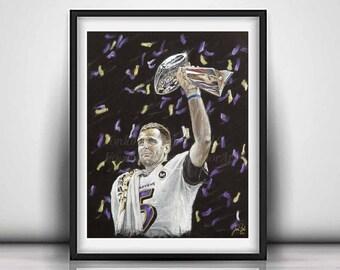 Joe Flacco - Baltimore Ravens Artwork - Art Print - Ravens Super Bowl POster - Ravens Football - Wall Art - Man Cave - Limited Edition 20x24