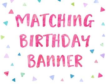 Custom Birthday Banner to match any OhBeJoyful Invitation!   DIGITAL FILE ONLY