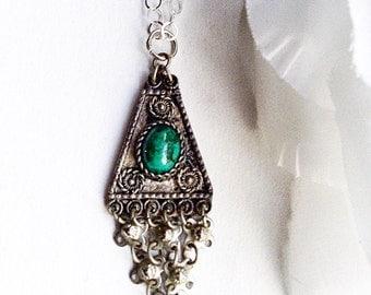 Stone Pendant, Semi Precious Stone Pendant, Stone Necklace, Israel Eilat, Sterling Silver Pendant, Vintage Jewelry, Vintage Silver Pendant
