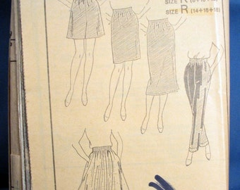 Vintage Misses Pattern 5528 - Skirts, Shorts and Trousers, Size 14, 16 and 18