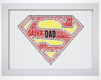 Personalised Dad Daddy Superman Framed Word Art Cloud Gift Birthday Fathers Day