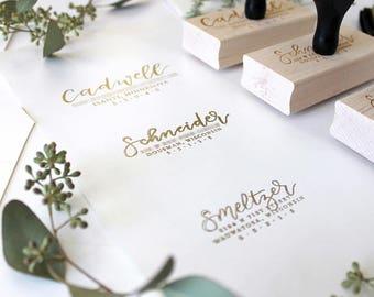 Custom Calligraphy Address Stamp / Return Address Stamp / Handmade Stamp  / Envelope Stamp / Custom Rubber Stamp