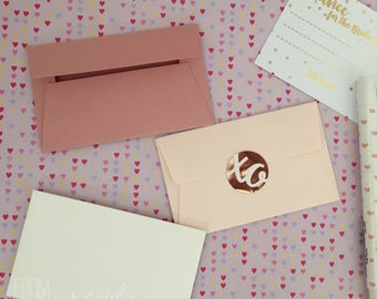 Blush, Dusty Pink or Ivory Textured mini envelopes, gift card holder for Guestbooks, Notes, Scrapbooks (Pk-10)