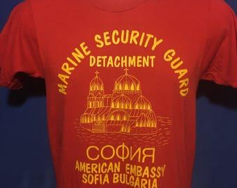 Vintage 1980s Sofia Bulgaria Embassy Security Guard t shirt rare original *XS