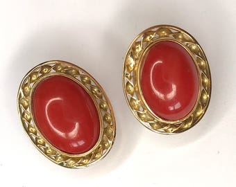 Vintage Estate 18ct Yellow Gold and Coral Earrings
