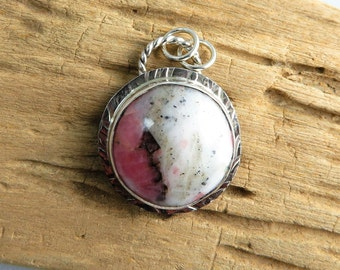 Rhodochrosite (Pink and White) Sterling Pendant