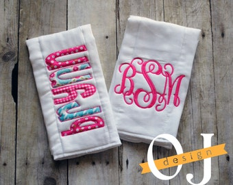Personalized Burp Cloth Set - Pink and Aqua - Floral - Baby Girl - Baby Shower - Newborn Gift - Personalized Newborn - Shabby Chic