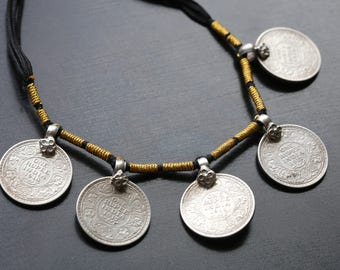 Old Vintage Silver Coins Necklace, Sterling Silver necklace, ethnic tribal, necklace from India, Silver Coin jewelry, Rajasthan silver