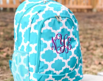 Turquoise Backpack, Quatrefoil Backpack, Personalized Backpack, Cute Girls Backpack, Teal Backpack, Pink backpack, Back To School, 4 Colors